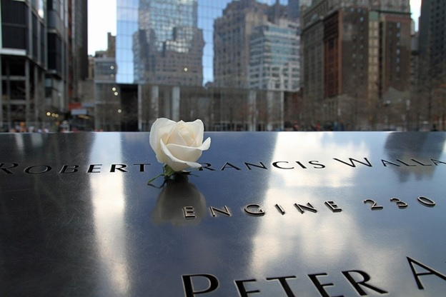 A 911 memorial photographed