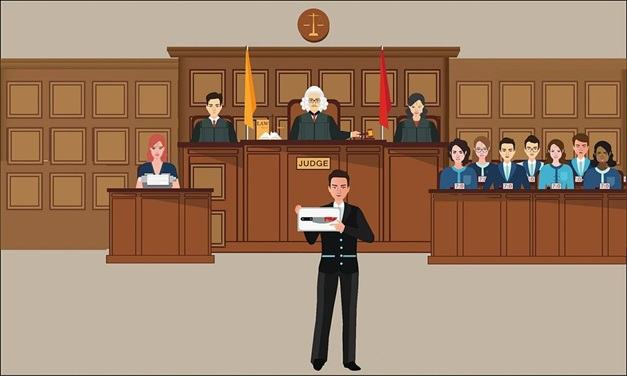 An illustration of a lawyer showing evidence to the jury and judge