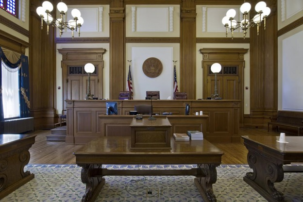 The inside of a courtroom in a court of appeals