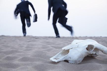 Men running away from the case.