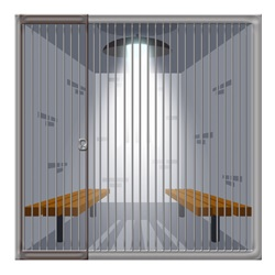 An inside view of a jail cell