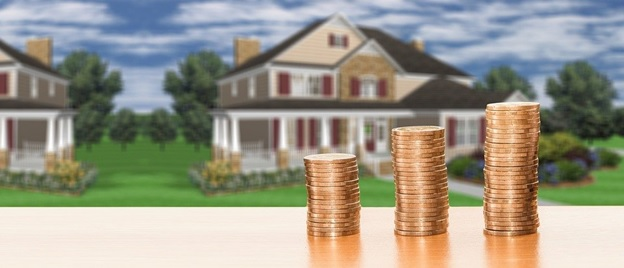 Coins with a house in the background
