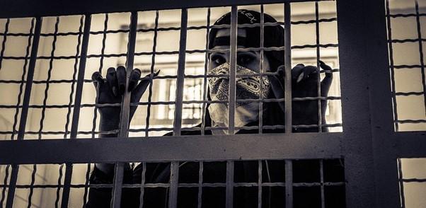 A defendant behind bars
