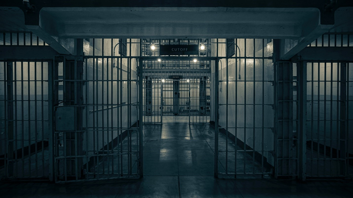 steel bars and gates at a prison