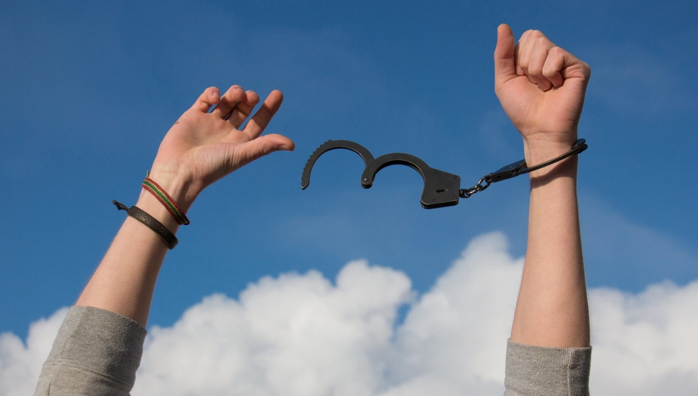a person released from handcuffs