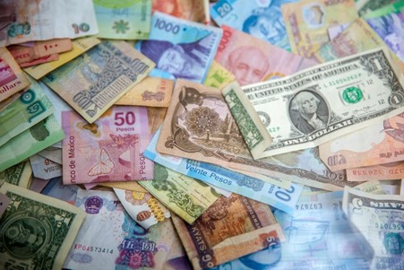 Assortment of currency notes.